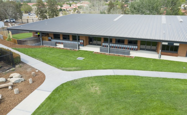 Drone photos of Gold Creek Primary School, Nicholls, ACT, 13 January, 2020, for Iqon, Phillip, ACT photo by Geoff Comfort, +61 411 268 146, Geoff Comfort Photography, Canberra Photographer, aerial photography